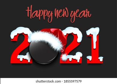 Snowy New Year numbers 2021 and hockey puck in a Christmas hat on an isolated background. Creative design pattern for greeting card, banner, poster, flyer, party invitation. Vector illustration