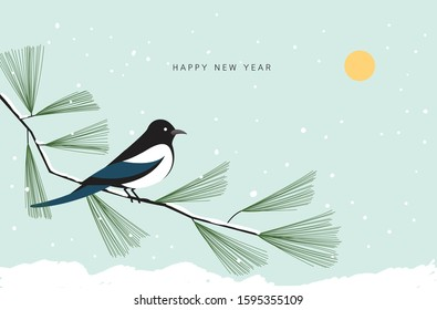 A snowy New Year's card with a magpie sitting on a snow-covered pine tree watching the first year of the new year