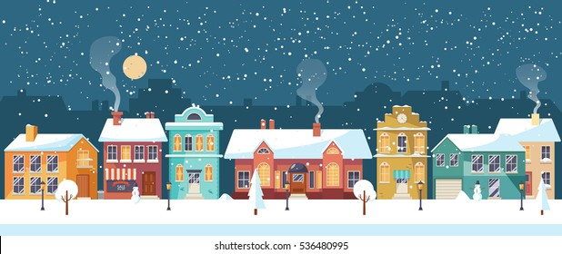 Snowy night in cozy christmas town city panorama. Winter christmas village NIGHT landscape