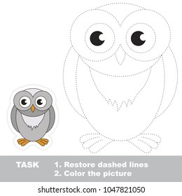 Snowy owl. Dot to dot educational game for kids.