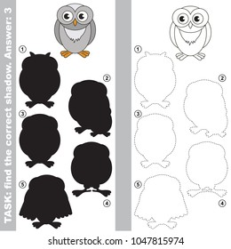Snowy Owl to find the correct shadow, the matching educational kid game to compare and connect objects and their true shadows, simple gaming level for preschool kids.