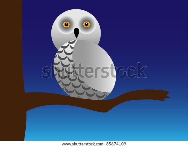 Snowy owl  on a branch.Vector illustration.