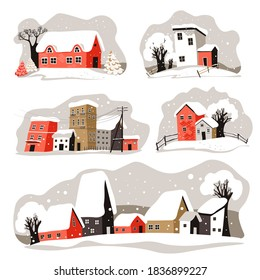 Snowy rooftops of houses in streets of city or town. Building covered with snow, winter season cityscape. Village view with snowfall, blizzard and frosty weather. Skyline vector in flat style