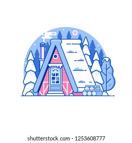 Snowy scene with gingerbread winter house with smoking chimney on woods. Cozy forest chalet or log cabin on wilderness by wintertime. Cartoon snow capped ski lodge home rural landscape in line art.