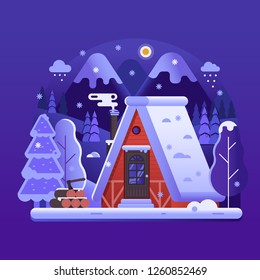 Snowy scene with gingerbread winter house with smoking chimney on woods. Cozy forest chalet or log cabin on wilderness by wintertime. Cartoon snow capped ski lodge home rural landscape by night.