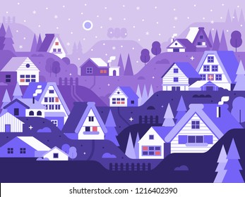 Snowy scene with winter village. Wintertime japanese landscape. Alp countryside with cozy snow houses and cabins by falling snow. Traditional snow village Shirakawago and Gokayama in Japan.