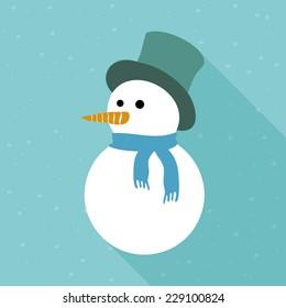 Snowy snowman. Festive and Christmas greeting card. Flat design.