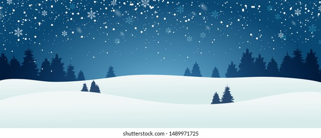 Snowy winter background landscape. Beautiful winter forest. Snow and snowflakes. Vector