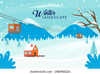 Snowy Winter Background with Ropeway