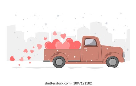 Snowy winter day city background and retro pickup truck with hearts. Holidays delivery. Card for a Saint Valentine Day. Vector illustration.