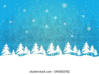 Snowy winter landscape with blue sky