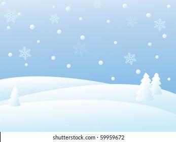 snowy winter landscape/vector illustration