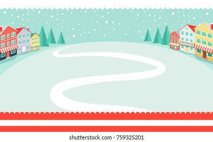 Snowy wintertime park poster with winding path in deep white snow. Vector illustration with quiet winter landscape and big falling snowflakes