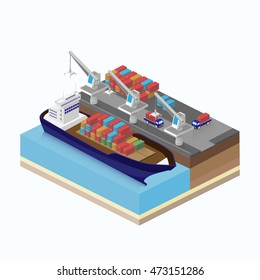 Soading cargo on a ship. Liner delivers the goods by sea. Unloading in the port. Shipping containers. Isometric vector illustration.