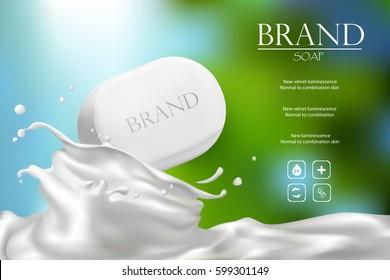 Soap advertisement design. Vector wash soap background. Laundry detergent package design banner