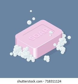 Soap Bar with Bubbles. Isometric vector illustration