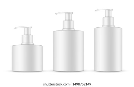 Soap bottles with pump mockup isolated on white background. Vector illustration