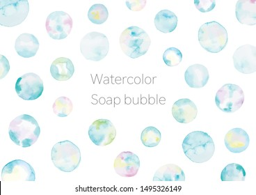 Soap bubble drawing by watercolor.