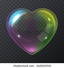 Soap bubble heart isolated on a transparent background. Vector illustration of a rainbow shiny soap bubble made in the form of a heart shape.