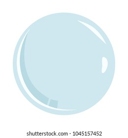Soap bubble isolated on white background. Beautiful realistic template for banner or poster. Simple design cartoon logo and icon. Flat style vector illustration.