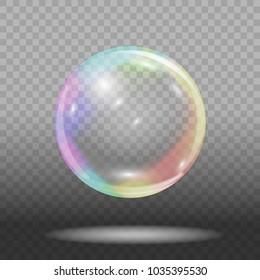 Soap bubble on transparent background. Vector illustration