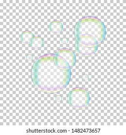 Soap bubbles abstract vector design elements on transparent background