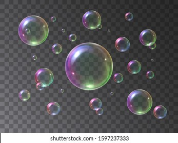 Soap bubbles foamy realistic with rainbow colors in an isolated transparent background. Vector illustration set colorful foam soap bubbles. Water air sphere.