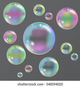 soap bubbles on a transparent background