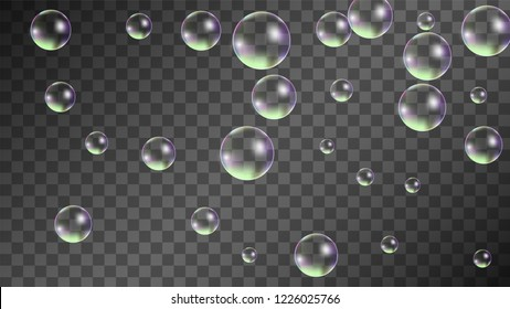 Soap bubbles with Rainbow Reflection. Set of Realistic Soap or Water Bubbles for Your Design. Shampoo or Foam Cosmetic Flyer and Invite. Bubble with Hologram Reflection. Isolated Vector Illustration.
