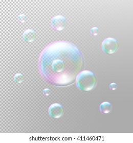 Soap bubbles. Realistic Soap bubbles. Transparent Soap bubbles. Soap bubbles 3D. Rainbow reflection Soap bubbles. Vector Soap bubbles