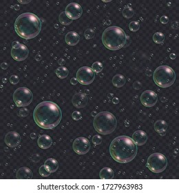 Soap bubbles seamless background. Abstract floating shampoo, bath lather pattern on dark backdrop. Realistic suds vector illustration.