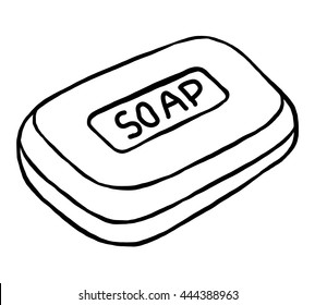 soap / cartoon vector and illustration, black and white, hand drawn, sketch style, isolated on white background.