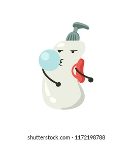 Soap dispenser dancing cool floss dance with red backpack and blowing bubble of chewing gum vector character isolated on white
