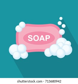 Soap flat icon, soap bubbles, vector illustration with shadow