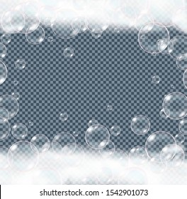 Soap foam bubbles isolated on transparent background. Realistic looking vector illustration.