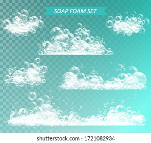 Soap foam with bubbles isolated vector illustration on transparent background