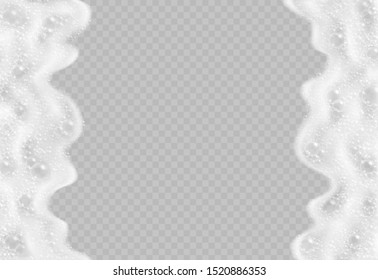 Soap foam with bubbles top view isolated on transparent background. Sparkling shampoo and bath lather realistic vector illustration.