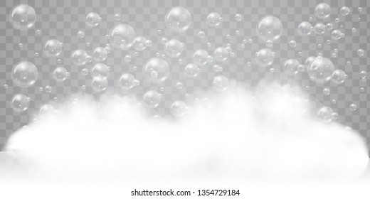 Soap foam with realistic bubbles background for your design. Bath laundry detergent or shampoo concept. Vector illustration.