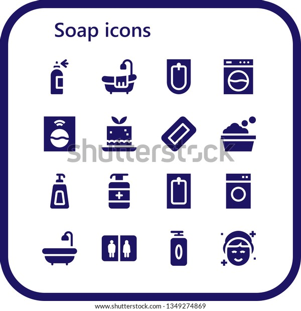 Soap Icon Set 16 Filled Soap Stock Vector Royalty Free 1349274869
