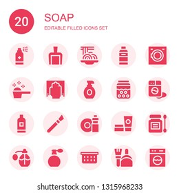 soap icon set. Collection of 20 filled soap icons included Antiseptic, Dustpan, Padthai, Shampoo, Washing machine, Detergent, Cleaning, Lotion, Bubble, Makeup, Washing dishes