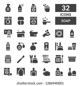 soap icon set. Collection of 32 filled soap icons included Make up, Lip balm, WASHING HANDS, Dustpan, Cleaning, Washing machine, Laundry basket, Antiseptic, Padthai, Makeup, Bubble