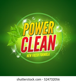 Soap package design. Vector wash soap background. Laundry detergent package design banner. Powder to wash clothing. Power fresh product with mint.