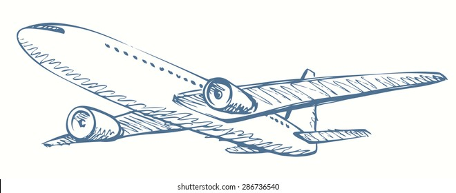 Soaring aerial airship vehicle machine arrival for landing to airport vector freehand ink hand drawn