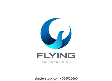 Soaring Flying Bird abstract Logo circle shape design vector template. Falcon Eagle Phoenix Logotype icon.