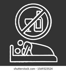 Sober sex chalk icon. Intimate relationship with male, female partner. Couple sexual activity. Healthy intercourse. No drinking, no alcohol for safe sex. Isolated vector chalkboard illustration