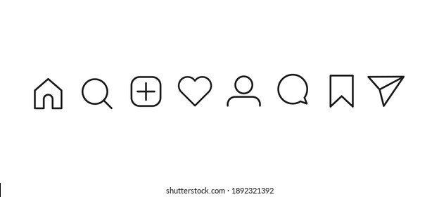 Socail media, user interface icon set vector illustration on outline style. Icons of like, comment, search, send