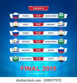 Soccer 2018 championship tournament in russia - GROUP A Russia Saudi Arabia Egypt Uruguay vector illustration