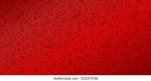 Soccer 2018 international world,  competition, hand drawn, football red abstract Russian folk doodle background goal sports, award cup, soccer ball symbols dynamic shapes lines typography web design