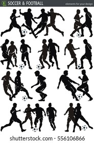 Soccer action players, isolated on white background. Silhouette poses, vector design elements for Web. Abstract figure for sport template, eps8