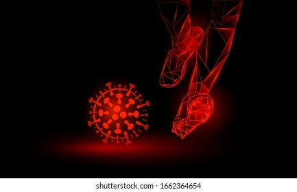 Soccer against coronavirus. Polygonal Football Kickoff illustration. Legs and virus cell.